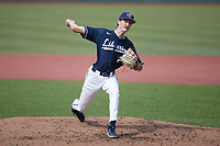 Liberty Flames starting pitcher Dylan Cumming (21) in action against the Bellarmine Knights at Liberty Baseball Stadium on March 9, 2021 in Lynchburg, VA. (Brian Westerholt/Four Seam Images)