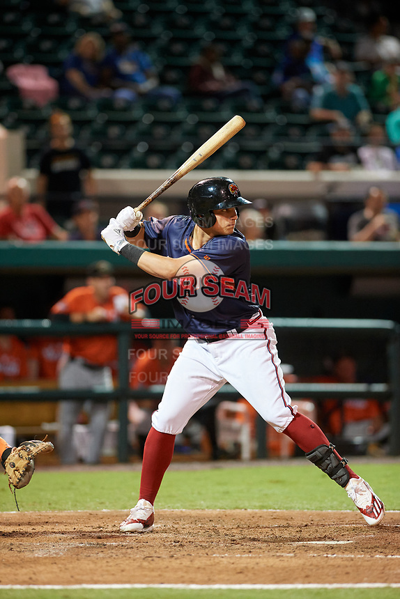 Florida Fire Frogs Austin Riley (19) bats during the Florida State League All-Star Game on June 17, 2017 at Joker Marchant Stadium in Lakeland, Florida.  FSL North All-Stars defeated the FSL South All-Stars  5-2.  (Mike Janes/Four Seam Images)