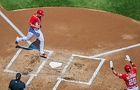 26 April 2014: Washington Nationals infielder Anthony Rendon comes home to score on an Adam LaRoche single in the first inning against the San Diego Padres at Nationals Park in Washington, DC. The Nationals shut out the Padres 4-0 to take the third game of their 4-game series. Mandatory Credit: Ed Wolfstein Photo *** RAW (NEF) Image File Available ***
