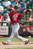 Memphis Redbirds first baseman Xavier Scruggs #16 follows through on his swing during the Pacific Coast League baseball game against the Round Rock Express on April 27, 2014 at the Dell Diamond in Round Rock, Texas. The Express defeated the Redbirds 6-2. (Andrew Woolley/Four Seam Images)