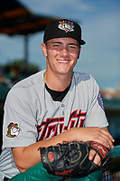 Tri-City ValleyCats pitcher Hunter Brown (45) poses for a photo before a NY-Penn League game against the Brooklyn Cyclones on August 17, 2019 at MCU Park in Brooklyn, New York.  The game was postponed due to inclement weather, Brooklyn defeated Tri-City 2-1 in the continuation of the game on August 18th.  (Mike Janes/Four Seam Images)