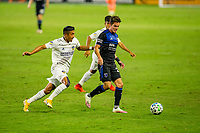 CARSON, CA - OCTOBER 14: Carlos Fierro #21 of the San Jose Earthquakes moves with the ball during a game between San Jose Earthquakes and Los Angeles Galaxy at Dignity Heath Sports Park on October 14, 2020 in Carson, California.
