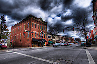 Uptown Westerville, Ohio, under storm clouds. Copyright Gary Gardiner. Not be used without written permission detailing exact usage.