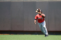 Outfielder Barrett Barnes #8 of the Texas Tech Red Raiders makes a catch against the Texas Longhorns on April 17, 2011 at UFCU Disch-Falk Field in Austin, Texas. (Photo by Andrew Woolley / Four Seam Images)