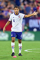 5th September 2021; Nashville, TN, USA;  United States midfielder Tyler Adams (4) reacts to a play during a CONCACAF World Cup qualifying match between the United States and Canada on September 5, 2021 at Nissan Stadium in Nashville, TN.