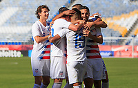 CARSON, CA - FEBRUARY 1: Brenden Aaronson #8, Ulysses Llanez Jr #19, Sebastian Lletget #17 of the United States celebrate an Ulysses PK goal during a game between Costa Rica and USMNT at Dignity Health Sports Park on February 1, 2020 in Carson, California.