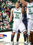 North Texas Mean Green forward Kedrick Hogans (24) in action in the game between the Jackson State Tigers and the University of North Texas Mean Green at the North Texas Coliseum,the Super Pit, in Denton, Texas. UNT defeated Jackson 68 to 49