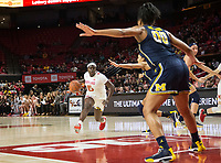 COLLEGE PARK, MD - DECEMBER 28: Naz Hillmon #00 of Michigan waits for attacking guard Ashley Owusu #15 of Maryland. during a game between University of Michigan and University of Maryland at Xfinity Center on December 28, 2019 in College Park, Maryland.
