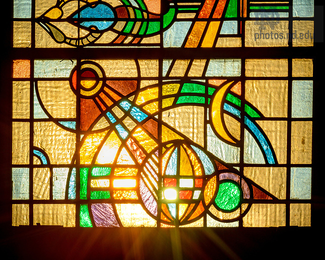 March 9, 2021; Detail of O'Shaughnessy great hall stained glass window (Photo by Matt Cashore/University of Notre Dame)