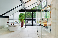 BNPS.co.uk (01202) 558833. <br /> Pic: Savills/BNPS<br /> <br /> Pictured: Bathroom. <br /> <br /> The UK home of Hollywood actor Antonio Banderas is on the market for £2.95m.<br /> <br /> The Mask of Zorro star moved from LA to Cobham in Surrey in 2015 with girlfriend Nicole Kimpel after splitting from his wife of 20 years Melanie Griffiths.<br /> <br /> They are now selling their home to spend more time in Banderas' native Malaga, where he has bought and built a theatre.