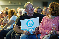 Pictured: Supporters inside the venue. Tuesday 30 April 2019<br /> Re: Nigel Farage and Anne Widdecombe at the Brexit Party rally at The Neon in Clarence Place in Newport, south Wales, UK.