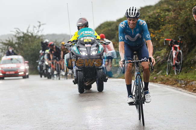Enric Mas (ESP) Movistar Team climbs La Collada Llomena during Stage 17 of La Vuelta d'Espana 2021, running 185.8km from Unquera to Lagos de Covadonga, Spain. 1st September 2021.    <br /> Picture: Luis Angel Gomez/Photogomezsport | Cyclefile<br /> <br /> All photos usage must carry mandatory copyright credit (© Cyclefile | Luis Angel Gomez/Photogomezsport)