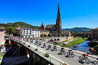 4th September 2020; Millau to Lavaur, France. Tour de France cycling tour, stage 7;  Peleton crosses a bridge