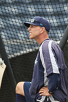 Everett AquaSox Manager Rob Mummau (8) watches batting practice before a game against the Spokane Indians at Everett Memorial Stadium on July 25, 2015 in Everett, Washington. Spokane defeated Everett, 10-1. (Larry Goren/Four Seam Images)