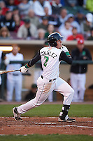 Dayton Dragons shortstop Luis Gonzalez (2) at bat during a game against the Great Lakes Loons on May 21, 2015 at Fifth Third Field in Dayton, Ohio.  Great Lakes defeated Dayton 4-3.  (Mike Janes/Four Seam Images)