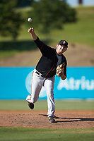 Delmarva Shorebirds relief pitcher Tyler Joyner (29) delivers a pitch to the plate against the Kannapolis Intimidators at Kannapolis Intimidators Stadium on May 19, 2019 in Kannapolis, North Carolina. The Shorebirds defeated the Intimidators 9-3. (Brian Westerholt/Four Seam Images)
