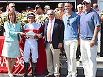 Inspector Lynley (no. 1), ridden by Joel Rosario and trained by Claude McGaughey III, wins the 109th running of the grade 3 Saranac Stakes for three year olds on September 3, 2016 at Saratoga Race Course in Saratoga Springs, New York. (Bob Mayberger/Eclipse Sportswire)