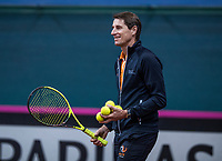 Bratislava, Slovenia, April 23, 2017,  FedCup: Slovakia-Netherlands, Practise Dutch team, captain Paul Haarhuis<br /> Photo: Tennisimages/Henk Koster
