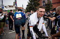 Tony Martin (DEU/Jumbo-Visma) crossing Filippo Ganna (ITA/Ineos Grenadiers) post-finish<br /> <br /> Men Elite Individual Time Trial <br /> from Knokke-Heist to Bruges (43.3 km)<br /> <br /> UCI Road World Championships - Flanders Belgium 2021<br /> <br /> ©kramon