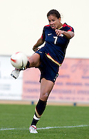 USWNT midfielder (7) Shannon Boxx takes a shot during the Algarve Cup.  The USWNT defeated Iceland, 1-0, at Ferreiras, Portugal.