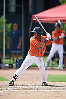 GCL Astros first baseman Juan Paulino (48) at bat during a game against the GCL Marlins on August 5, 2018 at FITTEAM Ballpark of the Palm Beaches in West Palm Beach, Florida.  GCL Astros defeated GCL Marlins 2-1.  (Mike Janes/Four Seam Images)