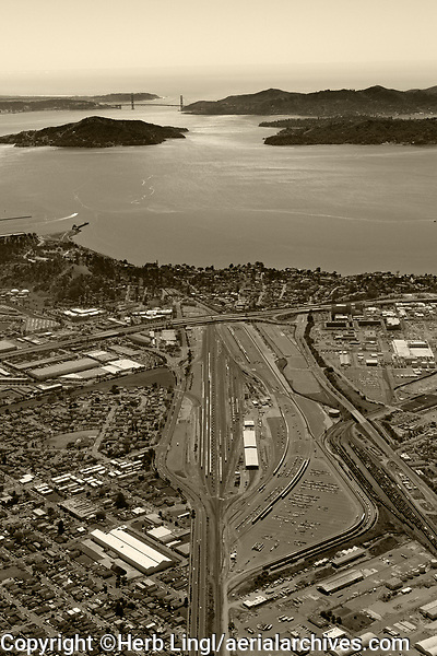 aerial photograph of the BNSF Railyard, Richmond, Contra Costa county California to the Golden Gate