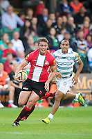 20120803 Copyright onEdition 2012©.Free for editorial use image, please credit: onEdition..Steve Hamilton of London Welsh in action against London Irish 7s at The Recreation Ground, Bath in the Final round of The J.P. Morgan Asset Management Premiership Rugby 7s Series...The J.P. Morgan Asset Management Premiership Rugby 7s Series kicked off again for the third season on Friday 13th July at The Stoop, Twickenham with Pool B being played at Edgeley Park, Stockport on Friday, 20th July, Pool C at Kingsholm Gloucester on Thursday, 26th July and the Final being played at The Recreation Ground, Bath on Friday 3rd August. The innovative tournament, which involves all 12 Premiership Rugby clubs, offers a fantastic platform for some of the country's finest young athletes to be exposed to the excitement, pressures and skills required to compete at an elite level...The 12 Premiership Rugby clubs are divided into three groups for the tournament, with the winner and runner up of each regional event going through to the Final. There are six games each evening, with each match consisting of two 7 minute halves with a 2 minute break at half time...For additional images please go to: http://www.w-w-i.com/jp_morgan_premiership_sevens/..For press contacts contact: Beth Begg at brandRapport on D: +44 (0)20 7932 5813 M: +44 (0)7900 88231 E: BBegg@brand-rapport.com..If you require a higher resolution image or you have any other onEdition photographic enquiries, please contact onEdition on 0845 900 2 900 or email info@onEdition.com.This image is copyright the onEdition 2012©..This image has been supplied by onEdition and must be credited onEdition. The author is asserting his full Moral rights in relation to the publication of this image. Rights for onward transmission of any image or file is not granted or implied. Changing or deleting Copyright information is illegal as specified in the Copyright, Design and Patents Act 1988. If you are in any way unsure of your right to publish this i