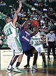 North Texas Mean Green guard Shannon Shorter (21) defends South Alabama Jaguars guard/forward Martino Brock (1) during the NCAA  basketball game between the South Alabama Jaguars and the University of North Texas Mean Green at the North Texas Coliseum,the Super Pit, in Denton, Texas. UNT defeated South Alabama 82 to 79...