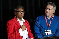 Régine St-Laurent, Fédération des Infirmieres du Québec et Sylvain Malette. Fédération des Enseignants du Québec<br /> <br /> Manifestation FIQ - FAE, 27 janvier 2015<br /> <br /> PHOTO : Agence Quebec Presse