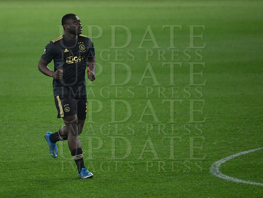 Football: Europa League - quarter final 2nd leg AS Roma vs Ajax, Olympic Stadium. Rome, Italy, March 15, 2021.<br /> Ajax's Bryan Brobbey celebrates after scoring during the Europa League football match between Roma at Rome's Olympic stadium, Rome, on April 15, 2021.  <br /> UPDATE IMAGES PRESS/Isabella Bonotto