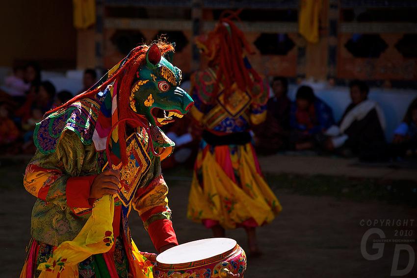 Talo Tshechu Festival, Bhutan, sacred Mask dance with drums and sticks.