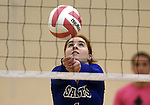 Marymount's Cassidie Watson passes in a college volleyball match against Shenandoah at Marymount University in Arlington, Vir., on Tuesday, Oct. 8, 2013.<br /> Photo by Cathleen Allison