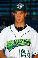 Jamestown Jammers pitcher Jheyson Manzueta #26 poses for a photo before a game against the Mahoning Valley Scrappers at Russell E. Diethrick Jr Park on September 2, 2011 in Jamestown, New York.  Mahoning Valley defeated Jamestown 8-4.  (Mike Janes/Four Seam Images)