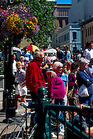 Tourists at the Public Market at Bastion Square in Victoria, Vancouver Island, British Columbia, Canada