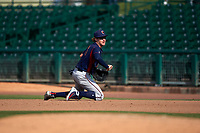 Lancaster JetHawks first baseman Tyler Nevin (16) prepares to flip a ball after making a diving grab during a California League game against the Inland Empire 66ers at San Manuel Stadium on May 20, 2018 in San Bernardino, California. Inland Empire defeated Lancaster 12-2. (Zachary Lucy/Four Seam Images)