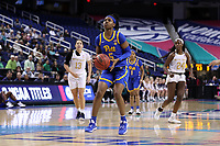 GREENSBORO, NC - MARCH 04: Amber Brown #5 of the University of Pittsburgh pulls up to shoot the ball during a game between Pitt and Notre Dame at Greensboro Coliseum on March 04, 2020 in Greensboro, North Carolina.