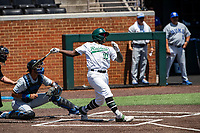 Wright State Raiders center fielder Quincy Hamilton (10) at bat against the Duke Blue Devils in NCAA Regional play on Robert M. Lindsay Field at Lindsey Nelson Stadium on June 5, 2021, in Knoxville, Tennessee. (Danny Parker/Four Seam Images)