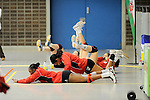 Rüsselsheim, Germany, April 13: Players of Rote Raben Vilsbiburg exercise during play off Game 1 in the best of three series in the semifinal of the DVL (Deutsche Volleyball-Bundesliga Damen) season 2013/2014 between the VC Wiesbaden and the Rote Raben Vilsbiburg on April 13, 2014 at Grosssporthalle in Rüsselsheim, Germany. Final score 0:3 (Photo by Dirk Markgraf / www.265-images.com) *** Local caption ***