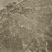 historical aerial photo map of Cleveland, Cuyahoga County, Ohio, 1952