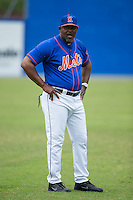 Kingsport Mets pitching coach Jonathan Hurst (48) prior to the game against the Greeneville Astros at Hunter Wright Stadium on July 7, 2015 in Kingsport, Tennessee.  The Mets defeated the Astros 6-4. (Brian Westerholt/Four Seam Images)