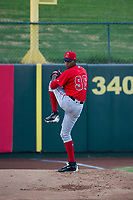 AZL Angels starting pitcher Jose Suarez (96) warms up in the bullpen prior to the game against the AZL White Sox on August 14, 2017 at Diablo Stadium in Tempe, Arizona. AZL Angels defeated the AZL White Sox 3-2. (Zachary Lucy/Four Seam Images)
