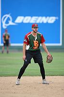 Ryan Metzler (9) of the Boise Hawks before a game against the Everett AquaSox at Everett Memorial Stadium on July 21, 2017 in Everett, Washington. Boise defeated Everett, 10-4. (Larry Goren/Four Seam Images)