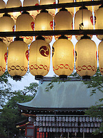 Japanese Lanterns. Paper lanterns hang at a temple.