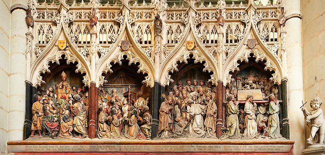 Panorama of Gothic sculptures (1530 ) depicting scenes from the life of St Firmin (3rd century), Cathedral of Notre-Dame, Amiens, France