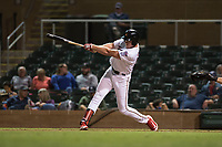 Salt River Rafters right fielder Luke Raley (53), of the Minnesota Twins organization, follows through on his swing during an Arizona Fall League game against the Scottsdale Scorpions at Salt River Fields at Talking Stick on October 11, 2018 in Scottsdale, Arizona. Salt River defeated Scottsdale 7-6. (Zachary Lucy/Four Seam Images)