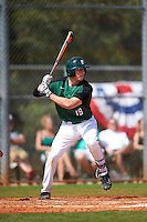 Dartmouth Big Green shortstop Nate Ostmo (19) at bat during a game against the Eastern Michigan Eagles on February 25, 2017 at North Charlotte Regional Park in Port Charlotte, Florida.  Dartmouth defeated Eastern Michigan 8-4.  (Mike Janes/Four Seam Images)