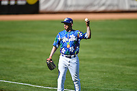 Jorge Gonzalez (38) of the Ogden Raptors throws in the outfield between innings against the Helena Brewers in Pioneer League action at Lindquist Field on July 16, 2016 in Ogden, Utah. Ogden defeated Helena 5-4. (Stephen Smith/Four Seam Images)