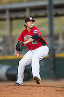 Hickory Crawdads starting pitcher Luis Ortiz (14) in action against the Savannah Sand Gnats at L.P. Frans Stadium on June 15, 2015 in Hickory, North Carolina.  The Crawdads defeated the Sand Gnats 4-1.  (Brian Westerholt/Four Seam Images)