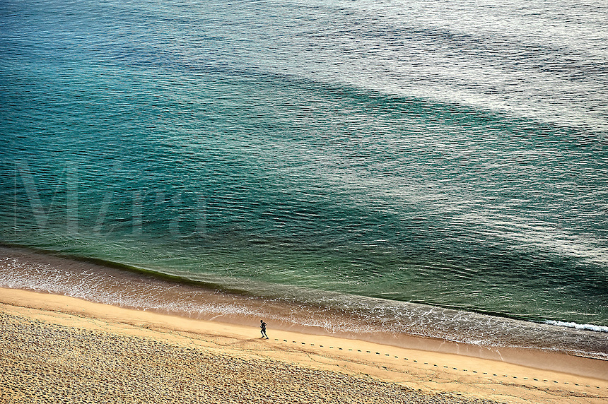 Aerial view of a man running on the beach, Long Nook Beach, Truro, Cape Cod, MA, USA
