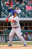 Kevin Pillar (22) of the Buffalo Bisons at bat against the Charlotte Knights at BB&T Ballpark on May 9, 2014 in Charlotte, North Carolina.  The Knights defeated the Bisons 5-3.  (Brian Westerholt/Four Seam Images)